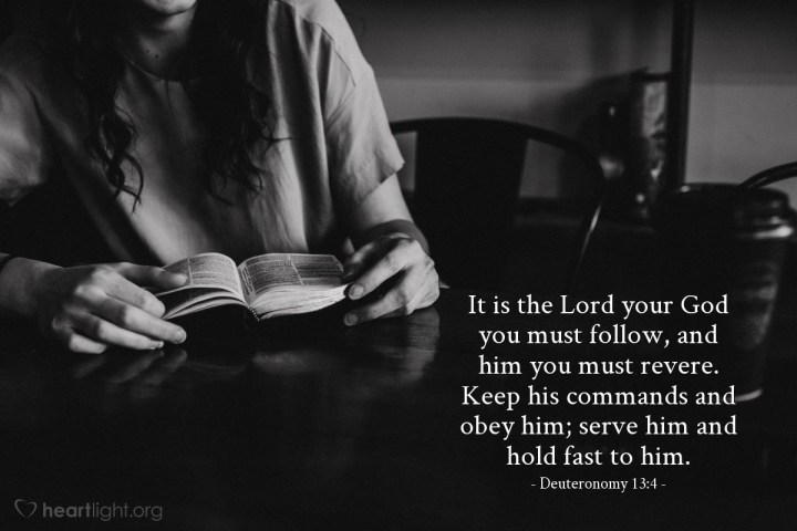 Illustration of Deuteronomy 13:4 — It is the Lord your God you must follow, and him you must revere. Keep his commands and obey him; serve him and hold fast to him.