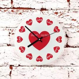 Aşkınıza Özel Hediye Kalpli Duvar Saati