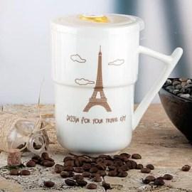 Arkadaşa Hediye Paris Desenli Porselen Kupa