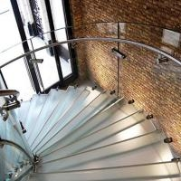 Modern Curved Staircase Glass And Stainless Steel Customized   Steel Round Staircase Design   Stair Steel Grill   Top Floor Railing   Terraced House   Semi Circular   Circle Stair
