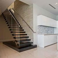 Elegant Solid Wooden Stairs Staircase Glass Railing Floating | Floating Stairs With Glass Railing | Wall | Commercial | Glass Staircase | Thin Glass | Modern