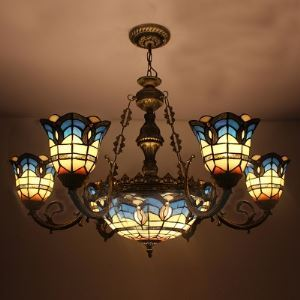 Arabic Style Bronze Finished Blue Stained Glass Tiffany Chandelier With Center Bowl