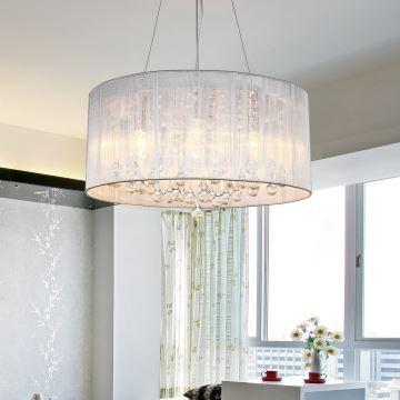 In Stock Drum Pendant Modern 4 Lights Minimalist Crystal Ceiling Rain Of Sky