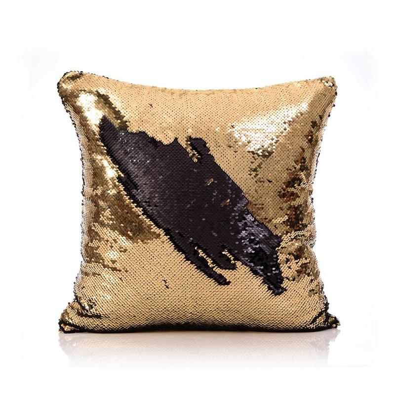 Mermaid Pillow Cover GoldBlack Change Color Sequins