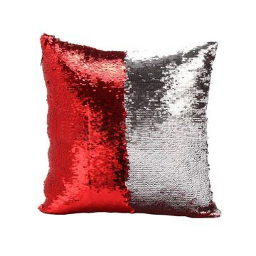In Stock Mermaid Pillow Cover RedSilver Change Color Sequins Cushion Inverted Flip Sequin