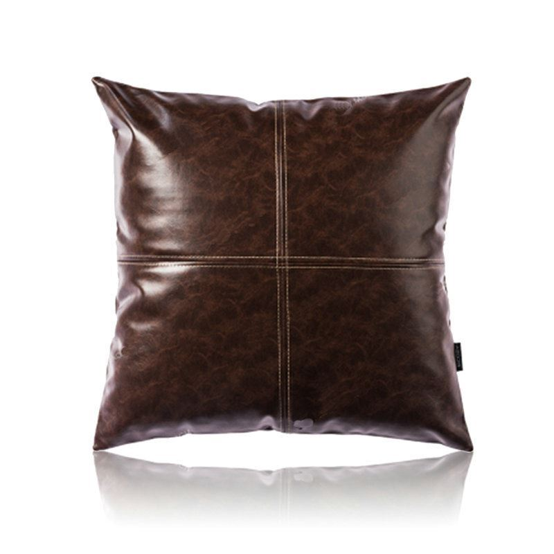 Modern Simple Brown Crazy Horse Leather Cushion PU Faux Leather Sofa Pillow Cover Car Office