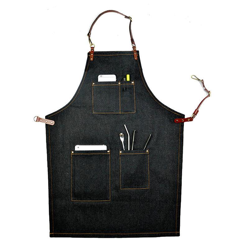 Denim Leather Work Aprons Barista Aprons Painting Apron