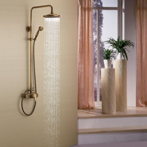 antique brass tub shower faucet exposed pipe shower with 8 inch shower head hand shower