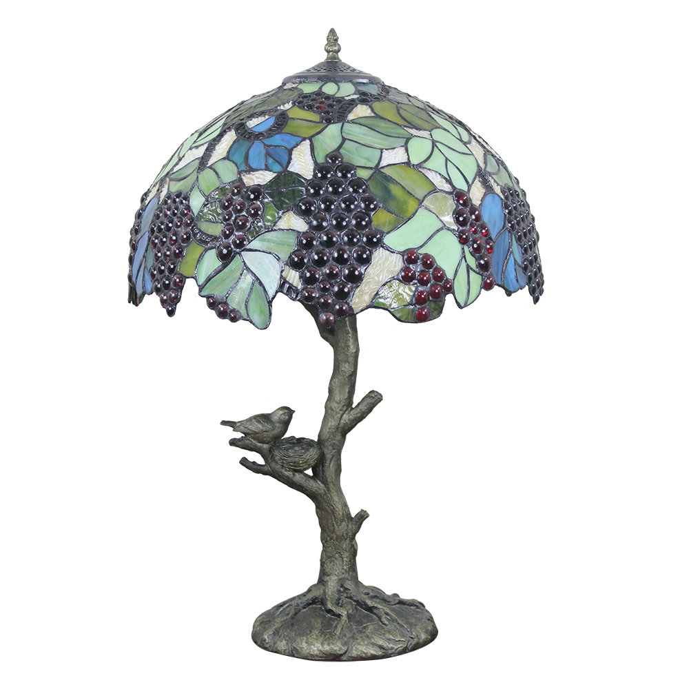 16inch European Retro Style Table Lamp Trunk And Birds Base Grape Pattern Glass Shade Bedroom