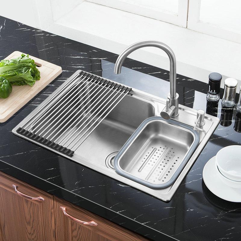 best single stainless steel kitchen sink drain basket and liquid soap dispenser s7245