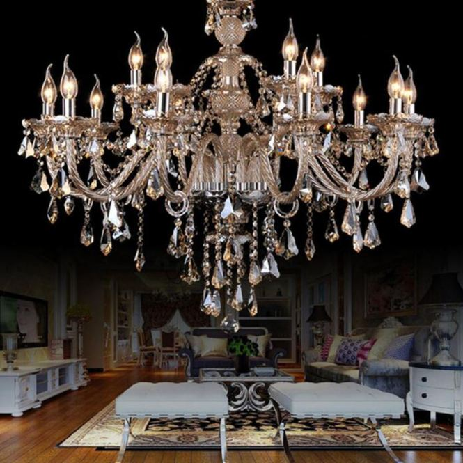 In Stock Ceiling Lights Chandelier Crystal Cognac Color Luxury Modern 2 Tiers Living 15