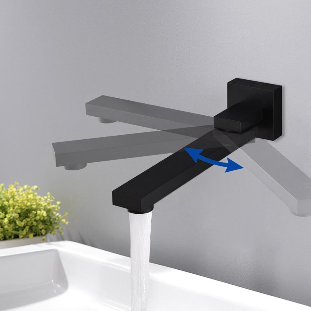 black wall mount swivel tub faucet water spout