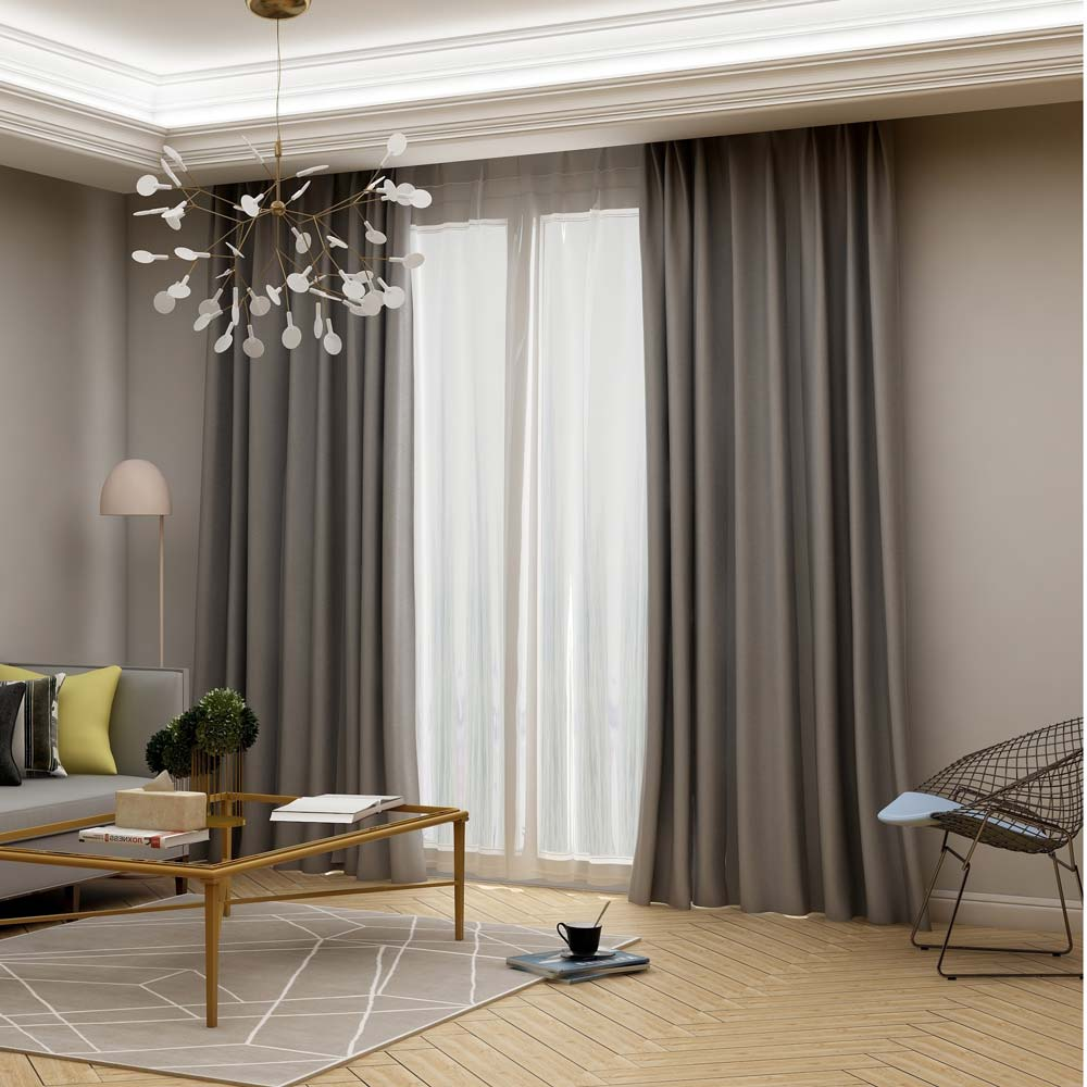 Modern Grey Blackout Curtain Solid Color Silk Imitation Curtain Living Room Bedroom Fabric One Panel