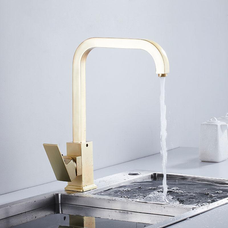 square swivel kitchen sink faucet mild luxury gold brass tap