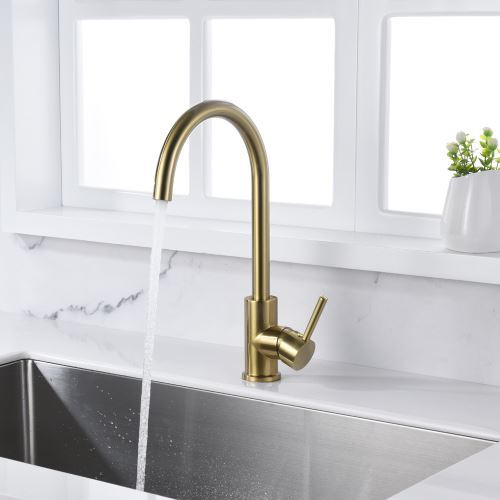 classic brass kitchen sink faucet brushed gold color