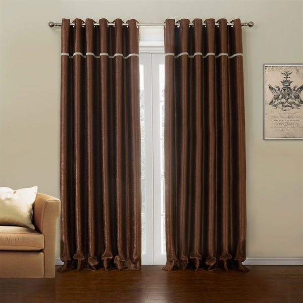 Polyester Blackout Curtian Dark Brown Custom Curtain 633