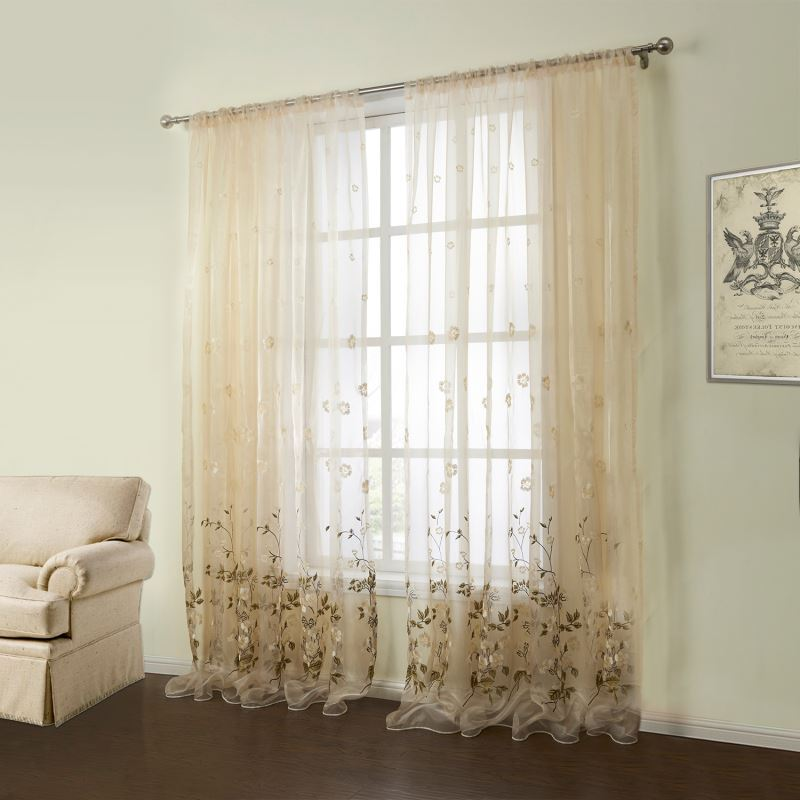 Out Of Stock One Panel Country Embroidered Beige Floral Pattern Polyester Amp Cotton Sheer