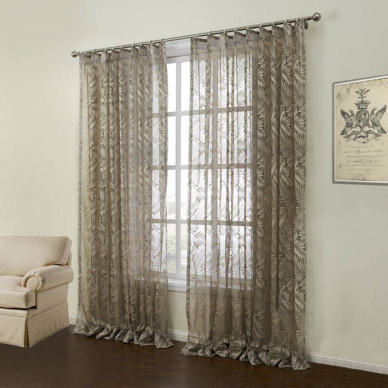 Modern Sheer Curtain Custom Knitted Brown Floral Pattern Polyester Amp Cotton Window Treatment 11