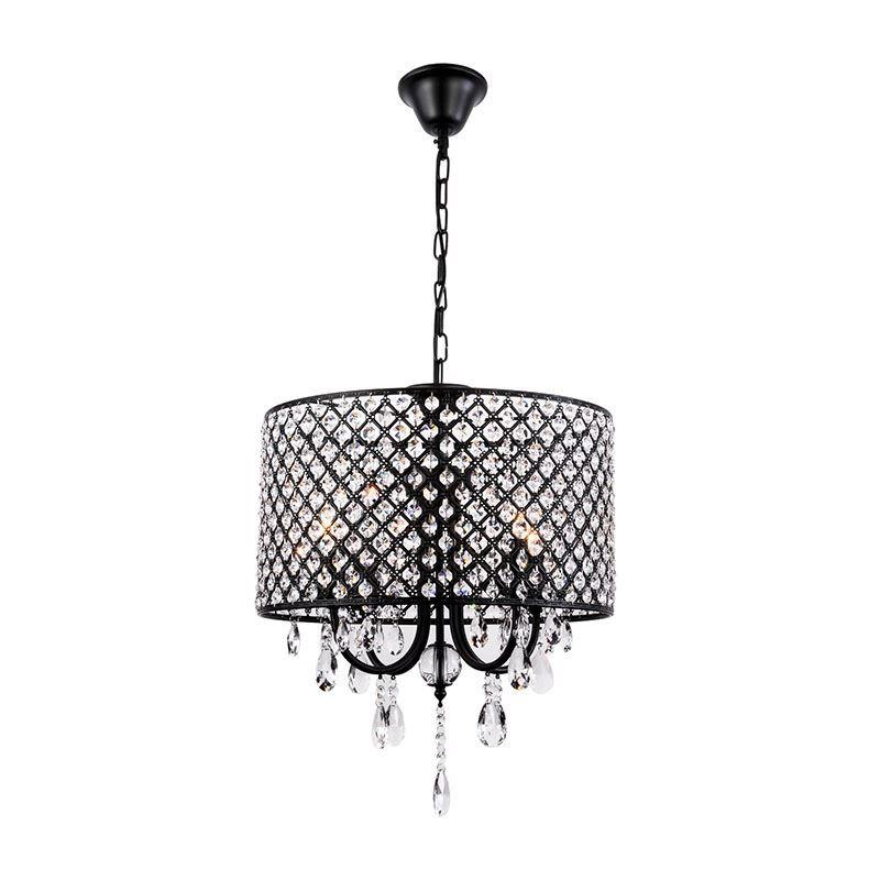 lustre baroque cristal a 4 lumieres d40cm en fer retro noir pour salle chambre