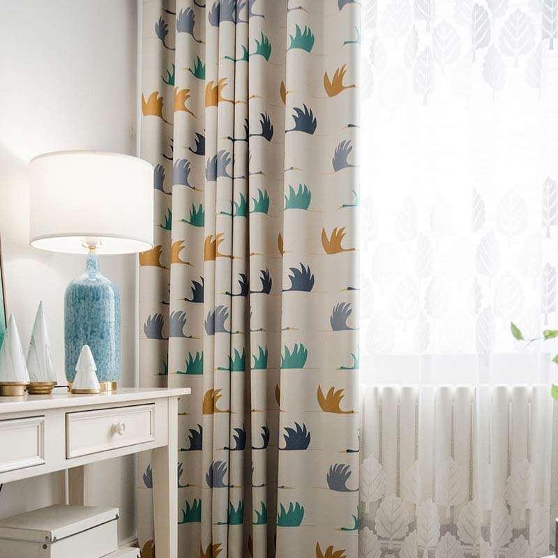 rideau occultant imprime en polyester oie cygnoid pour chambre d enfant simple cartoon