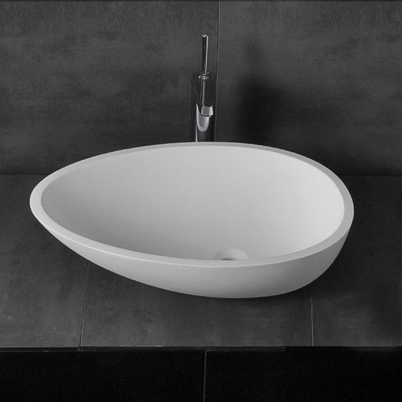 Vasque Ovale A Poser En Pierre Artificielle Blanc œuf Pour Salle De Bains