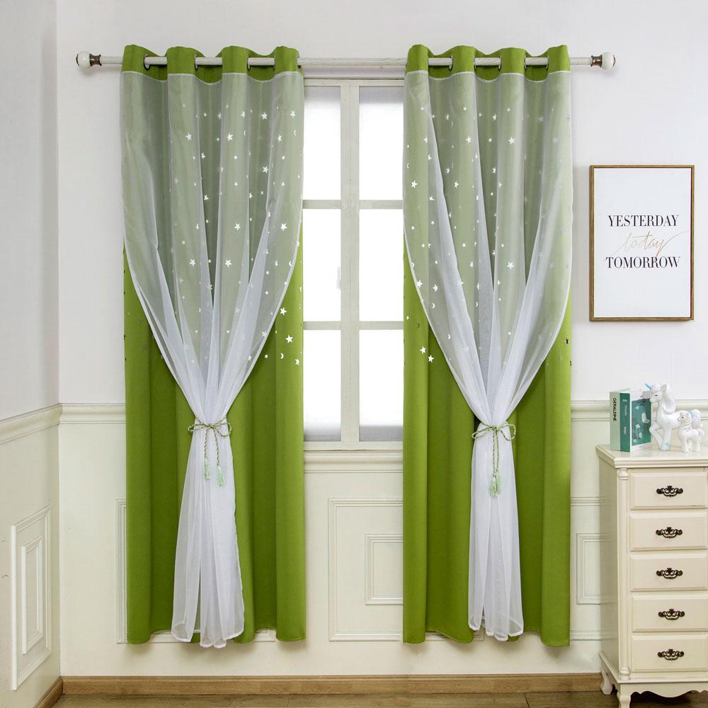 rideau occultant en poyester etoile vert double couche pour chambre a coucher