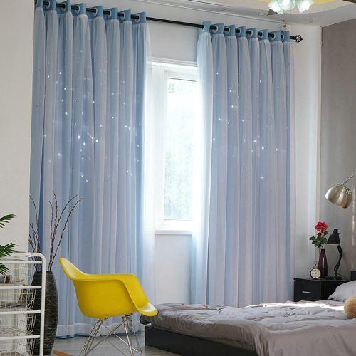rideau occultant avec voilage ajoure etoile couleur pure 2 modeles pour chambre fille