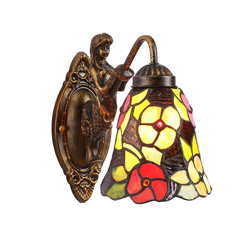 Applique Tiffany Verre Antique Motif Sirne Floral H23cm