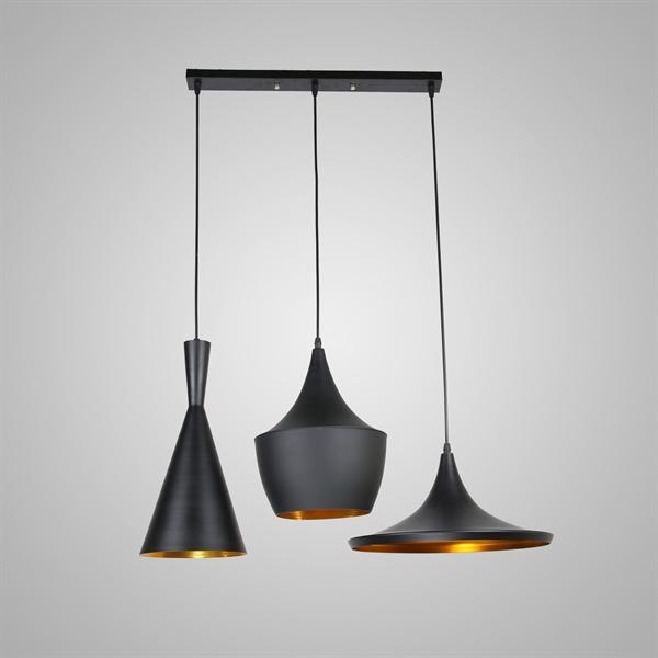 lustre plafonnier a 3 lampes suspensions style industriel en aluminium noir l77cm luminaire cuisine restaurant