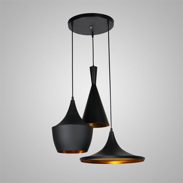 Lustre Plafonnier 3 Lampes L 60 Cm Noir En Aluminium