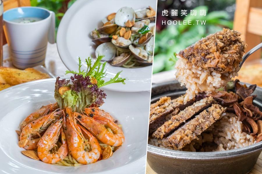 小義樓(高雄)新崛江聚餐推薦!滿滿的香蒜鮮蝦義大利麵,隱藏版炸安格斯牛排燉飯
