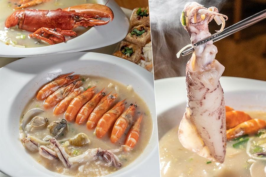 千韻海鮮粥(高雄)宵夜也能吃現煮粥品!整排蝦蝦的霸王鮮蝦粥,季節限定超厚帶蛋小卷