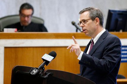 "<span class='image-component__caption' itemprop=""caption"">James Bromley delivers closing arguments for the plaintiffs in the trial Ferguson v. JONAH. In a first-of-its-kind trial, five people sued the gay conversion therapy organization JONAH (Jews Offering New Alternatives for Healing) for consumer fraud.  </span>"