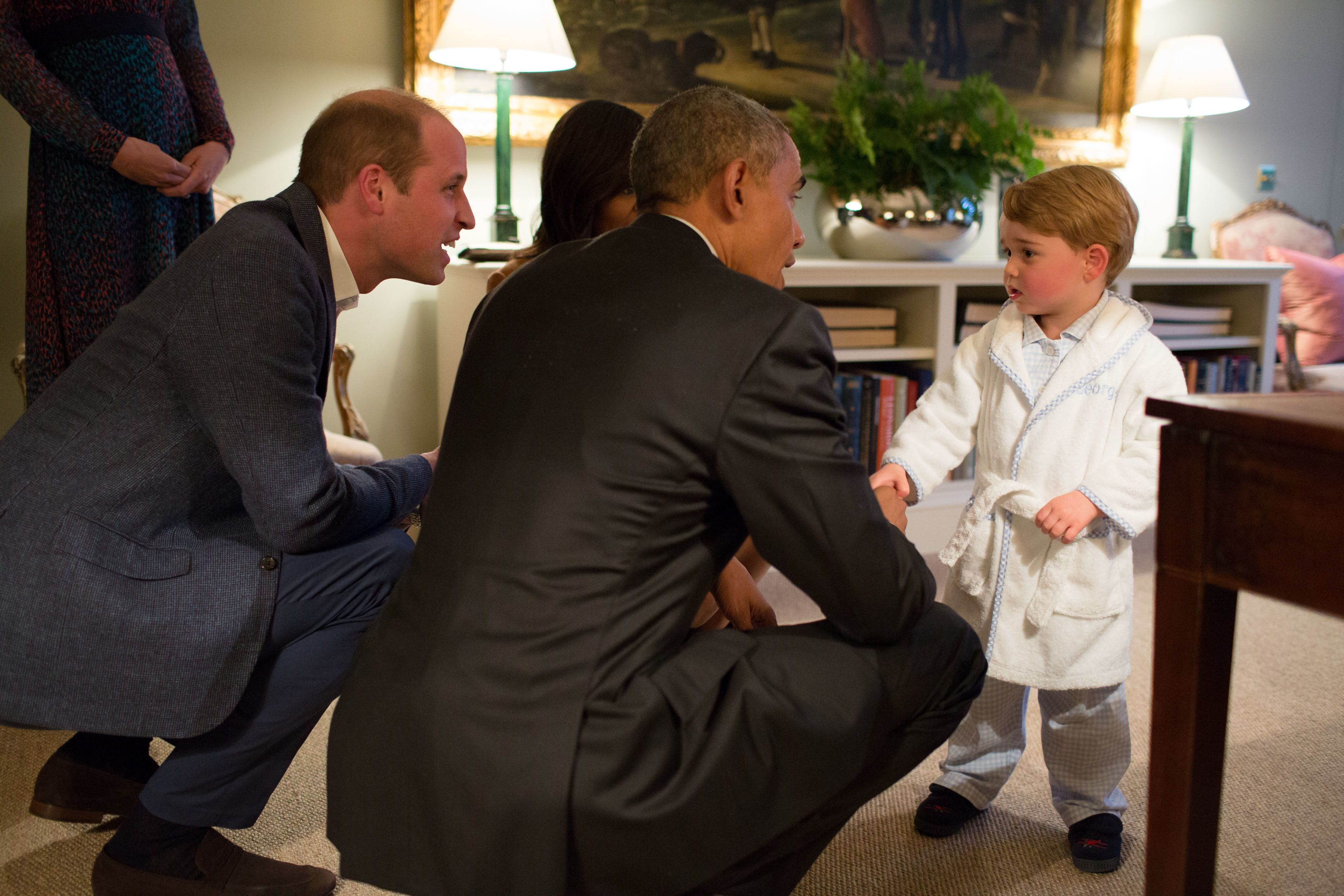 President Obama meets with Prince William and Princess Kate, and is introduced to Prince George, April 2016. [Pete Souza]