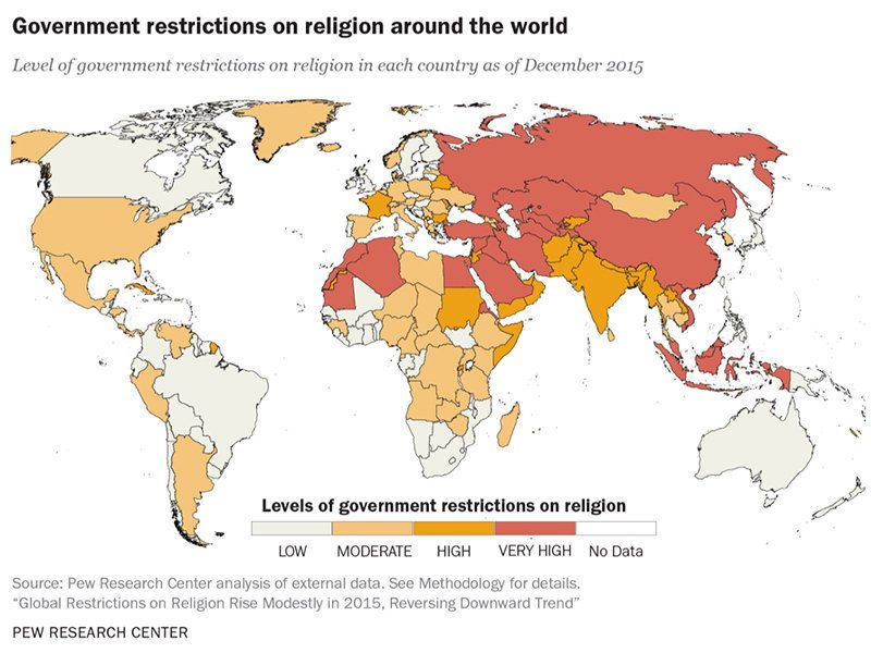 This Map Of The State Of Religious Freedom Around The