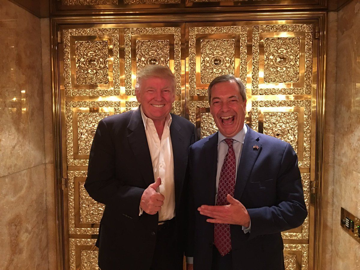 Image result for Trump and Farage lift