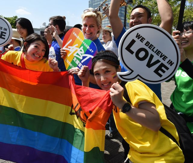 Tokyo Rainbow Pride Participants Pose For Photographers Before The Parade On April