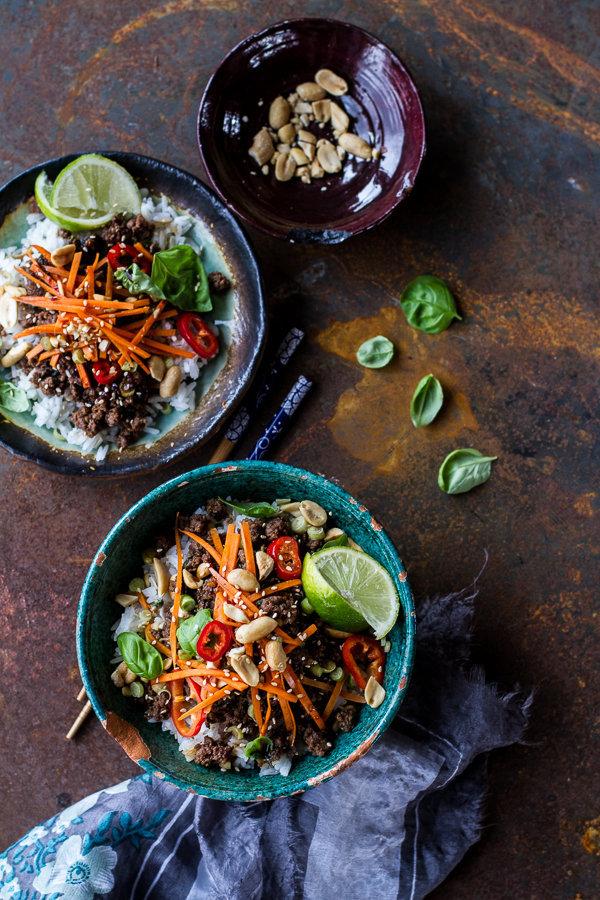 "<strong>Get the <a href=""http://www.halfbakedharvest.com/20-minute-thai-basil-beef-lemongrass-rice-bowls/"" target=""_blank"">20"