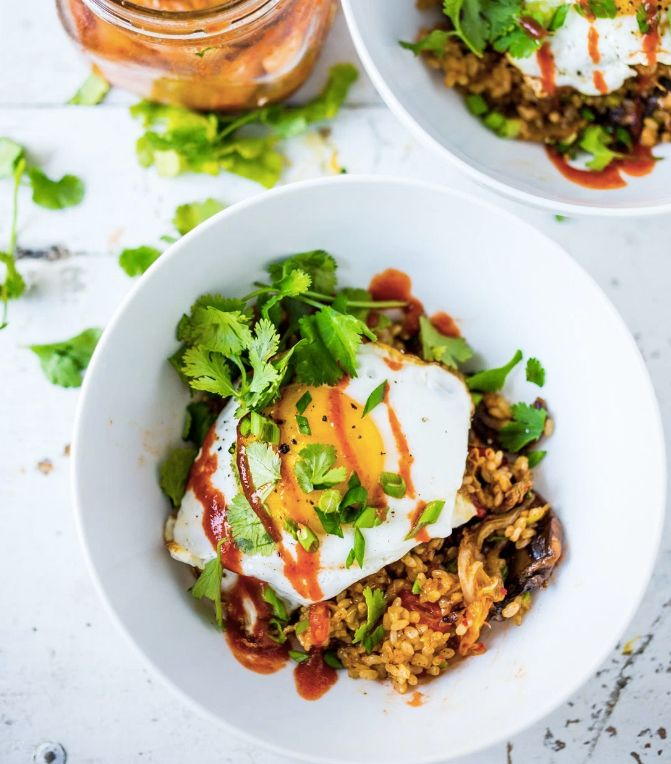 "<strong>Get the <a href=""http://www.feastingathome.com/kimchi-fried-rice/"" target=""_blank"">Kimchi Rice with Fried Egg recipe<"
