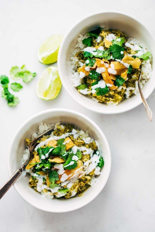 "<strong>Get the <a href=""http://pinchofyum.com/roasted-tomatillo-chicken-and-rice-bowls"" target=""_blank"">Roasted Tomatillo Ch"