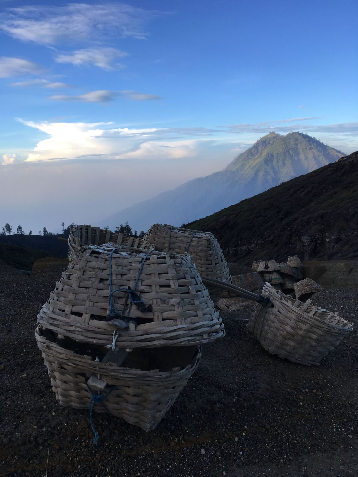 <p>The baskets used by miners to carry sulpher from the Ijen Crater to base camp.</p>