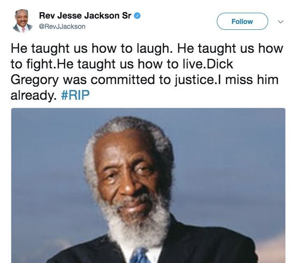 Celebrities Remember Dick Gregory, A 'Comedic Master' And 'Hero For Civil Rights' Celebrities Remember Dick Gregory, A 'Comedic Master' And 'Hero For Civil Rights' 5999567d1e00003c00c5e769