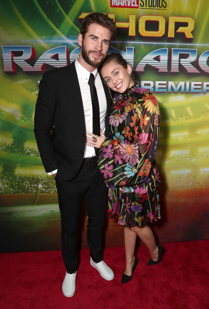 Miley Cyrus And Liam Hemsworth Step Out For Rare Red Carpet Appearance Miley Cyrus And Liam Hemsworth Step Out For Rare Red Carpet Appearance 59de26e92000000934086392