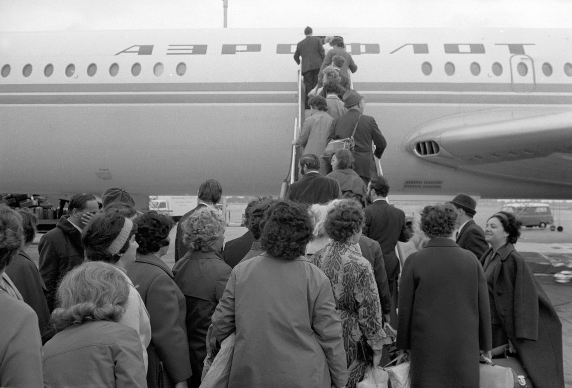 Soviet citizens board an aircraft bound for Moscow at Heathrow in September 1971 after being declared 'persona non grata' by Ted Heath