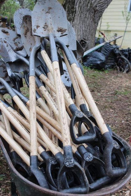 Lead to Life's shovels during a garden action day in Atlanta overthe weekend. Thetoolsfeature inscriptions&