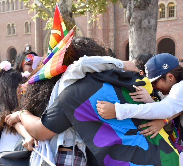 High schoolers embrace at the 2017 Models of Pride Conference at the University of Southern California.