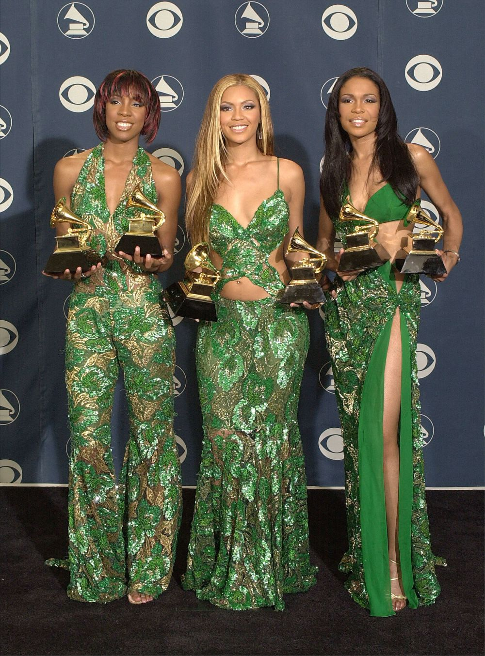 Posing with their awards at the 43rd annual Grammy Awards at Staples Center in Los Angeles.