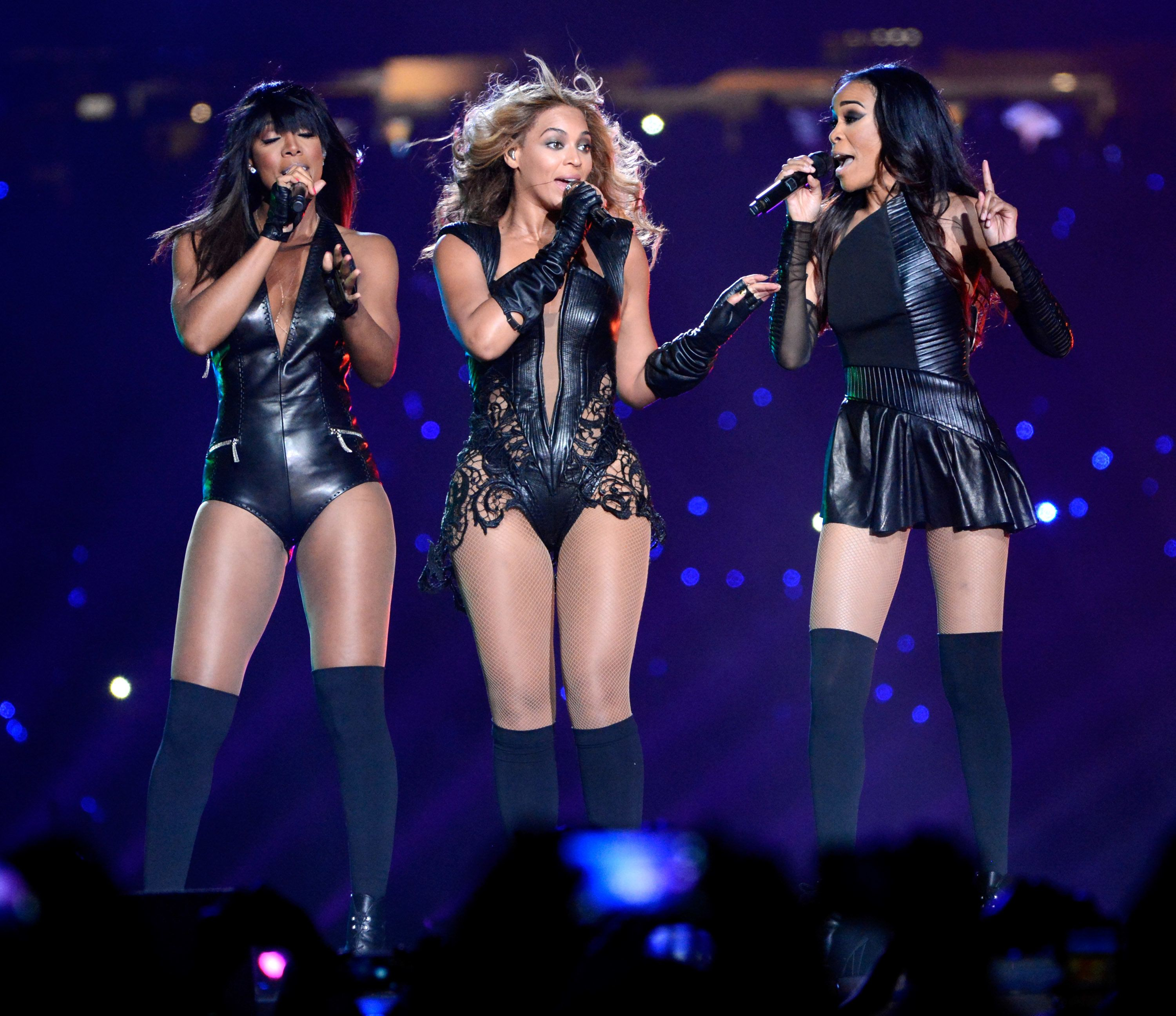 Performing during the Pepsi Super Bowl XLVII Halftime Show at Mercedes-Benz Superdome on in New Orleans.
