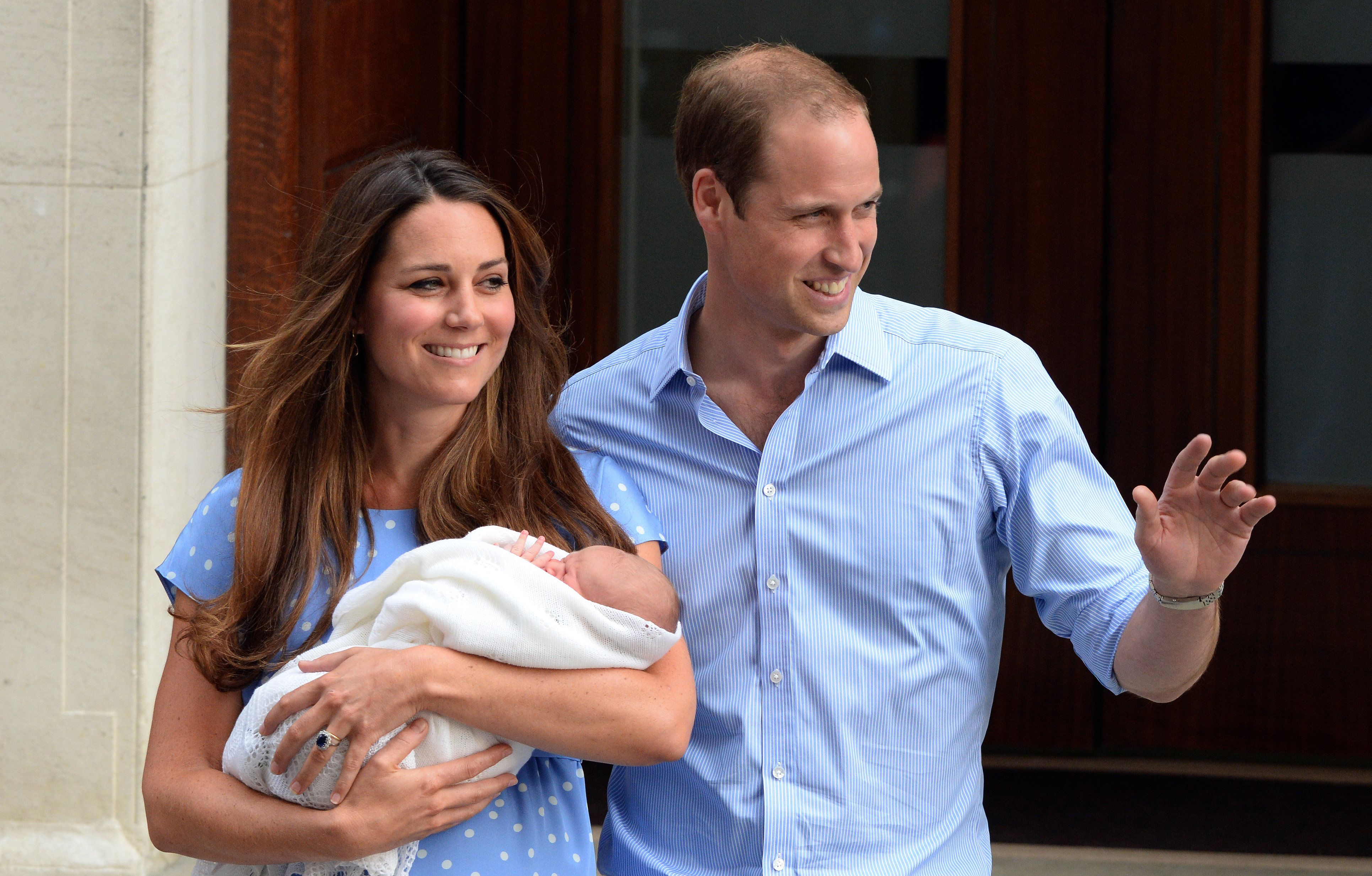The Duke and Duchess of Cambridgeposed for initial public photos of their first child, Prince George, after he was born