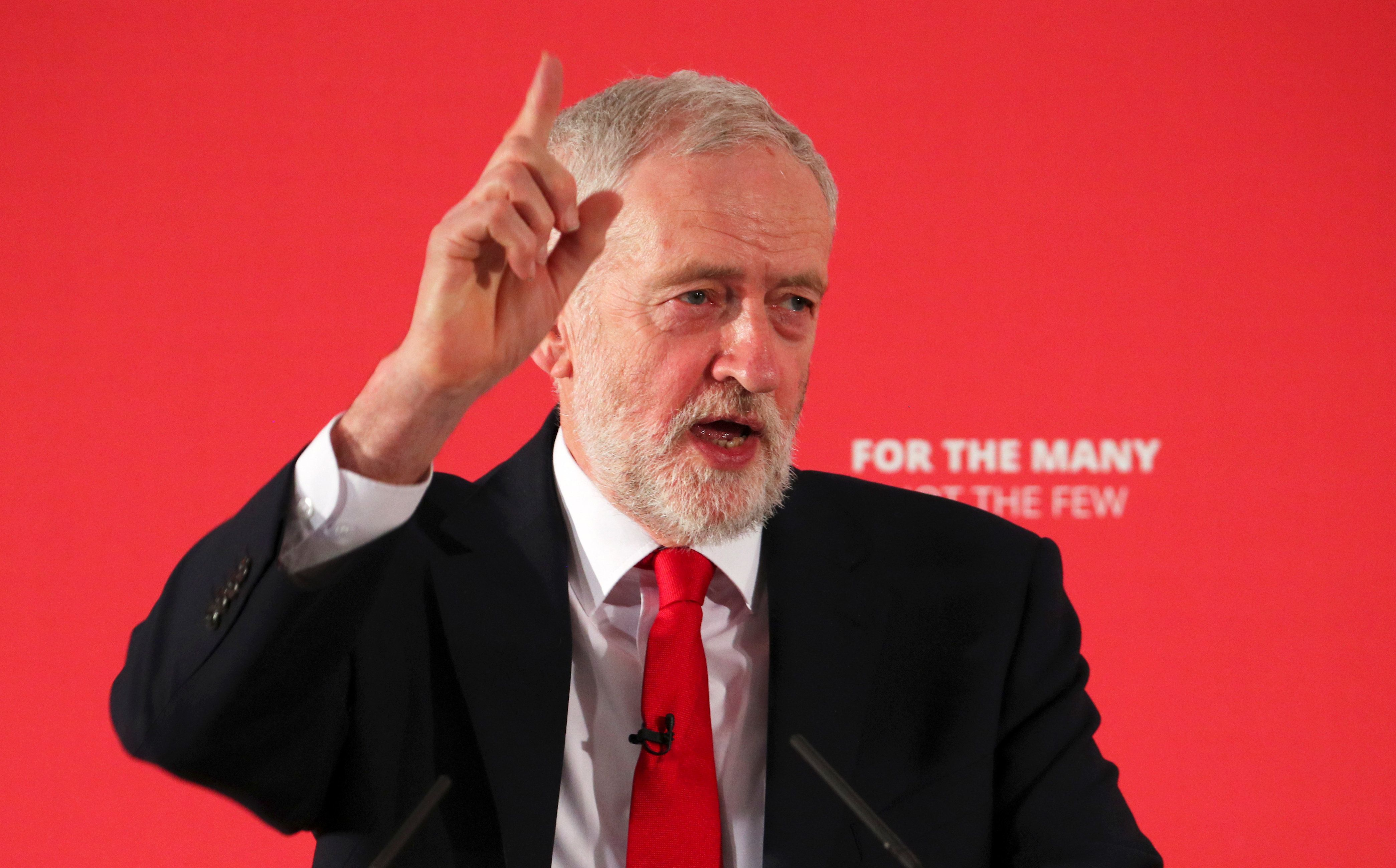 Jeremy Corbyn, the leader of Britain's Labor Party, speaks at the launch ofa local election campaign, in London.